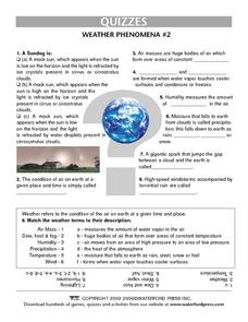 Quiz:  Weather Phenomena #2 Lesson Plan