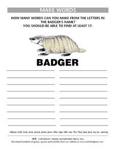 Make Words with the Letters in the Word Badger Lesson Plan