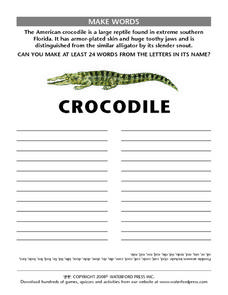 "Make Words Using the Letters in the Word ""Crocodile"" Lesson Plan"
