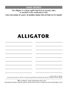 "Make Words Using the Letters in the Word "" Alligator"" Lesson Plan"