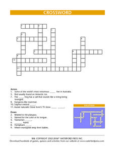 Crossword Puzzle- Animals of the Southern Hemisphere Lesson Plan