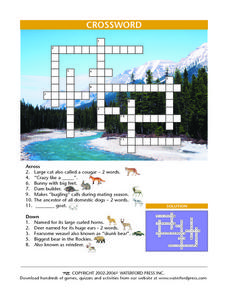 Crossword Puzzle- Mammals Lesson Plan