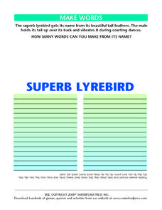 "Making Words Using the Letters in the Words ""Superb Lyrebird"" Lesson Plan"
