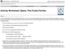 Space, The Funky Frontier Internet Research Worksheet Worksheet
