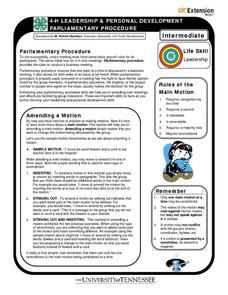 4-H Leadership & Personal Development: Parliamentary Procedure Worksheet