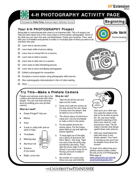 4-H Photography Beginning Activity Pages Worksheet for 6th