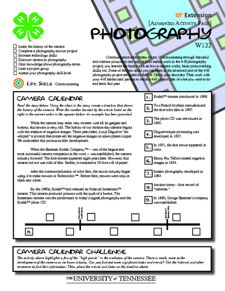 4-H Photography Advanced Activity Pages Graphic Organizer