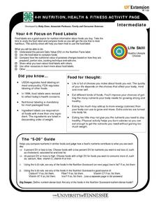 Your 4-H Focus on Food Labels Worksheet