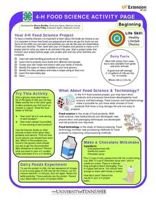 4-H Food Science Activity Page- Life Skill- Healthy Lifestyle Choices Worksheet