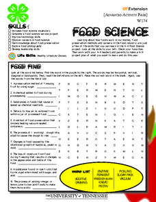 4-H Advanced Food Science Activity Pages Worksheet
