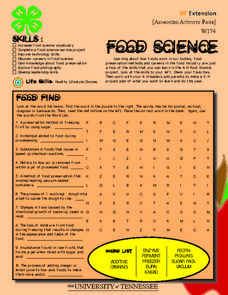 4-H Food Science- Advanced Activity Worksheet