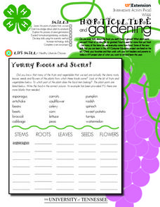 4-H Horticulture and Gardening- Intermediate Learner's Page Worksheet