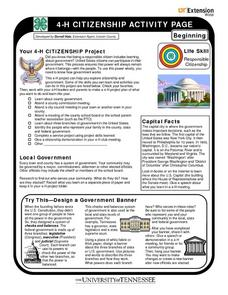 4-H Citizenship Activity Page - Beginning Level Worksheet