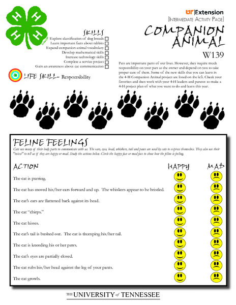 4 h companion animal project worksheet for 4th 8th grade lesson planet. Black Bedroom Furniture Sets. Home Design Ideas