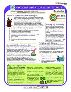 4-H Communication Activity Page (Extension) Worksheet