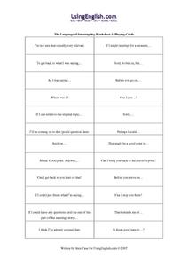 The Language of Interrupting (1) Worksheet