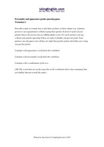Personality and Appearance Gender Guessing Game Worksheet