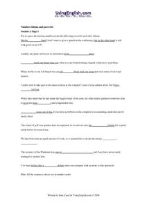 Numbers Idioms and Proverbs Worksheet