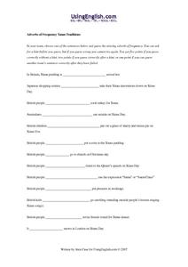 Adverbs of Frequency Xmas Traditions Worksheet