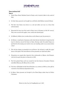 Xmas Traditions Bluff Worksheet