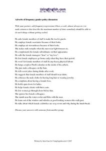 Adverbs of Frequency Gender Policy Discussion Worksheet
