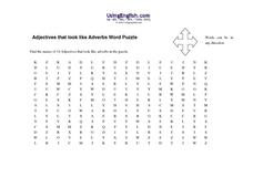 Adjectives That Look Like Adverbs Word Puzzle Worksheet