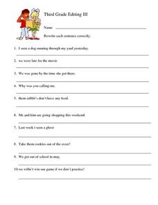 Third Grade Editing III Worksheet