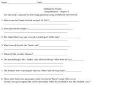 Finding the Titanic Comprehension- Chapter 2 Worksheet