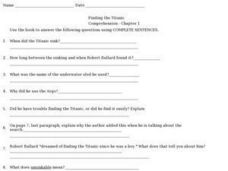 Finding the Titanic- Comprehension- Chapter 1 Worksheet
