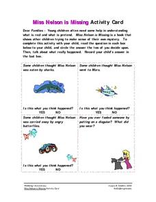 Miss Nelson is Missing Activity Card Worksheet