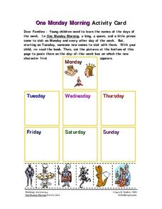 One Monday Morning Activity Card Worksheet