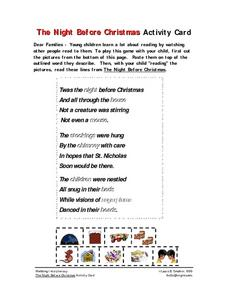 The Night Before Christmas Activity Card Worksheet