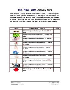 Ten, Nine, Eight Activity Card Worksheet
