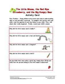 The Little Mouse, the Red Ripe Strawberry, and the Big Hungry Bear Worksheet