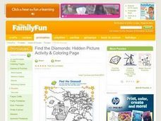 Find the Diamonds: Hidden Picture Activity and Coloring Page Lesson Plan