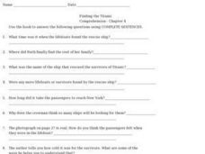 Finding the Titanic Comprehension- Chapter 4 Worksheet