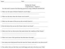 Finding the Titanic Comprehension- Chapter 5 Worksheet