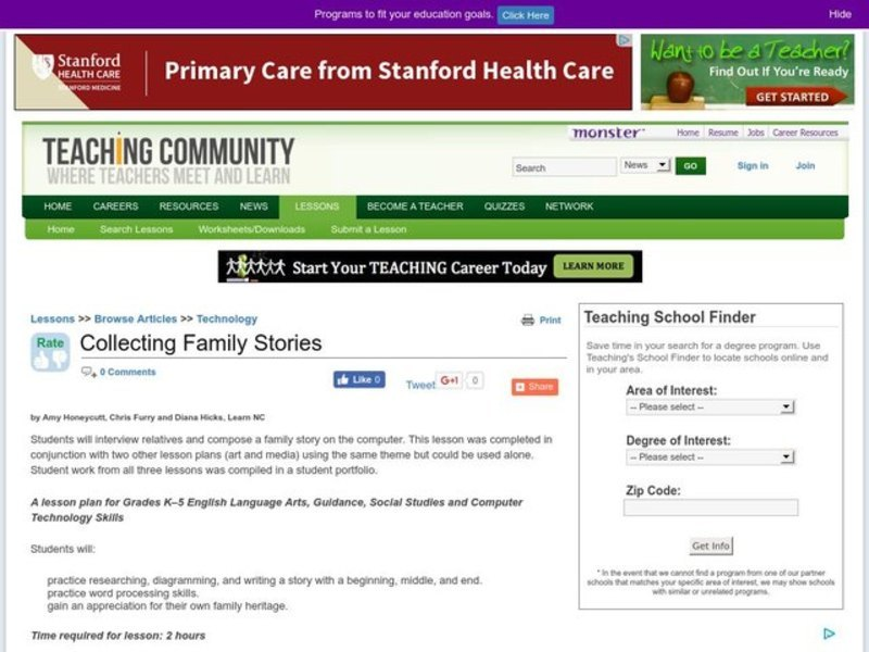 Collecting Family Stories Lesson Plan
