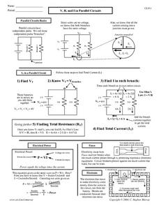 V, R, and I in Parallel Circuit Worksheet for 10th - Higher Ed