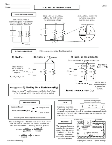 V, R, and I in Parallel Circuit Worksheet for 10th - Higher ...