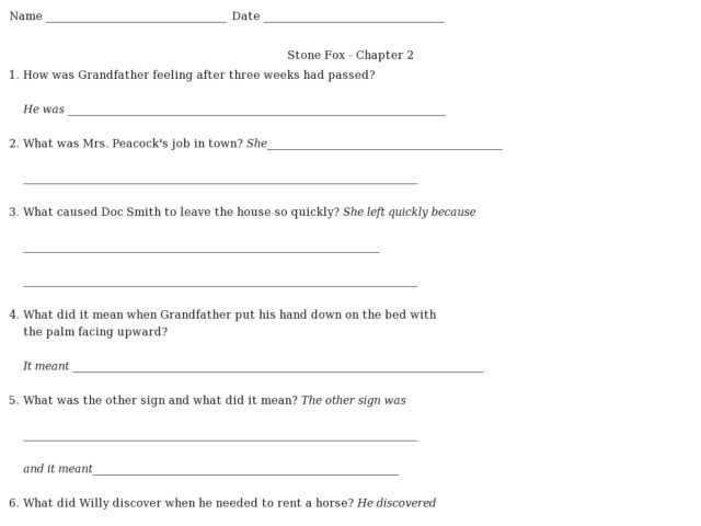 Stone Fox Chapter 2 Comprehension Questions 4th 7th Grade – Stone Fox Worksheets