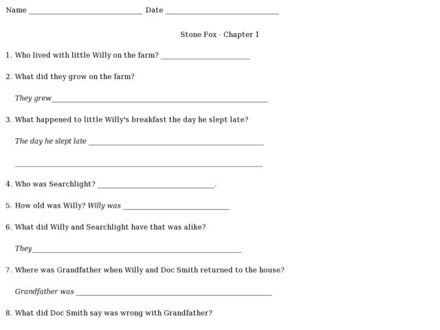 Stone Fox: Chapter 1 Comprehension Worksheet for 4th - 7th
