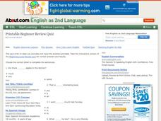 English As 2nd Language: Printable Beginner Review Quiz 1 Worksheet