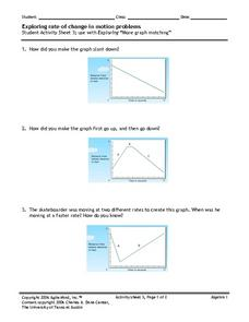 Exploring Rate of Change in Motion Problems Worksheet