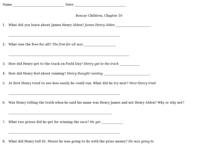 Boxcar Children: Chapter 10 Worksheet