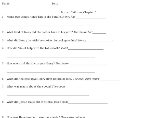 Boxcar Children Chapter 6 Worksheet For 2nd 5th Grade Lesson Planet