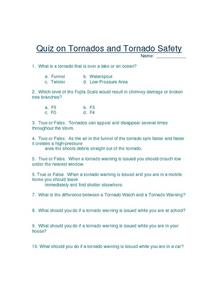Quiz on Tornados and Tornado Safety Worksheet