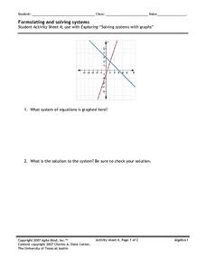 Formulating and Solving Systems 4 Worksheet