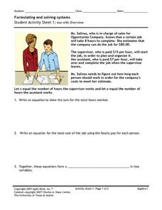 Formulating and Solving Systems 1 Worksheet