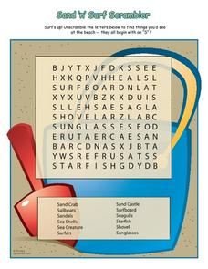 Sand 'n' Surf Word Search Worksheet